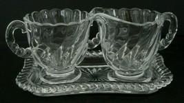 Vintage Fostoria Colony Swirl Sugar and Creamer with Tray  - $23.33