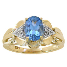 1.52 Carat Oval Cut Blue Topaz & Round Diamond Ring 14K Yellow Gold - $286.11