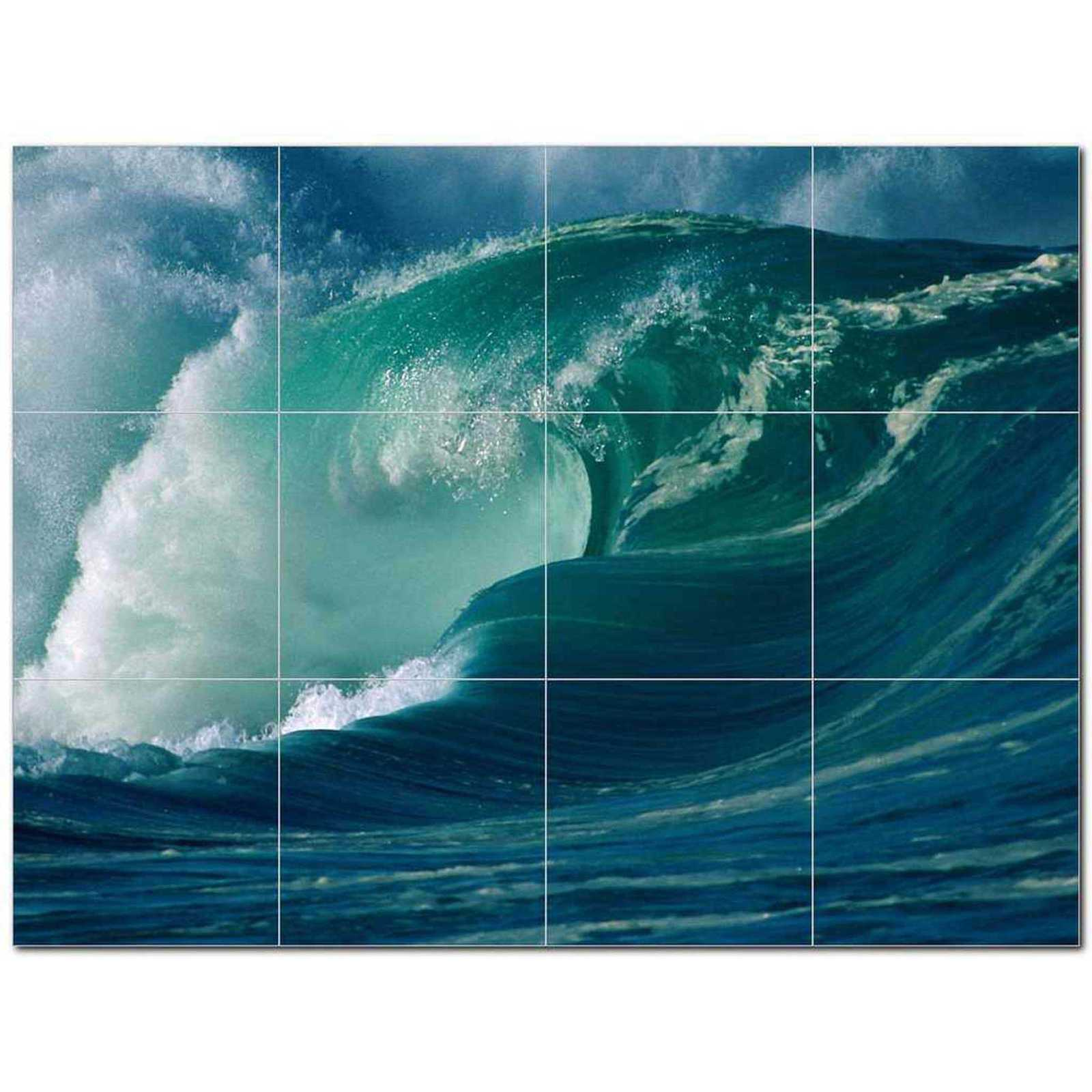 Primary image for Waves Photo Ceramic Tile Mural Kitchen Backsplash Bathroom Shower BAZ406320