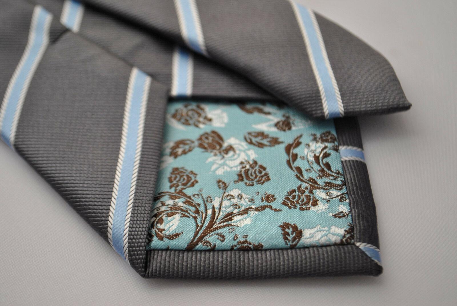 Frederick Thomas men's grey and light blue club striped tie FT1777