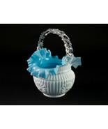 Stevens & Williams Webb Blue White Rosette Basket Thorn Handle Antique V... - $117.60