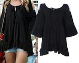 Men summer flare sleeve o neck blouse top plus size ruffle crewneck belt loose new thumb155 crop