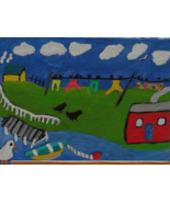 Wash Day in Newfoundland Atlantic Canada FREE S & H Folk Art Painting - $20.00