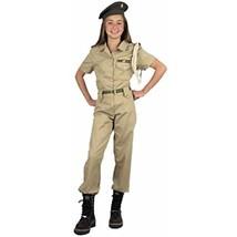 Charades Girl's Khaki Military Costume Size Large 10-12 - $46.42