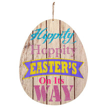 Egg-Shaped Wooden Wall Sign Hippity Hoppity Easter's on its Way w - $6.99