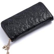 Embossing Lady Clutch Genuine Leather Women Zipper Wallet Long Purse Car... - $26.99
