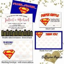 Superman Superhero Baby Shower Invitation Set personalized thank you env... - £12.01 GBP