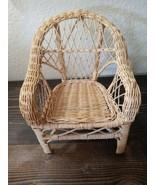 "Wicker Rattan Armed Doll Chair Vintage Beige Tan 11"" - $18.99"