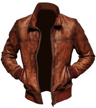 Mens Biker Vintage Motorcycle Distressed Brown Cafe Racer Bomber Leather... - $109.99
