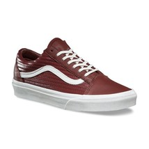 VANS Old Skool (Moto Leather) Madder Brown White Sneakers Womens Size 7 - $64.95