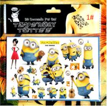 1 Sheet Cute Minions Kids Temporary Tattoos Body art Flash Tattoo Stickers 17*10 - $4.85