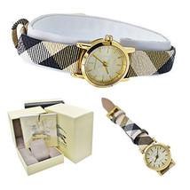 Burberry Watch Women BU1763 Gold Dial Haymarket Nova Check Strap Leather... - $192.60 CAD