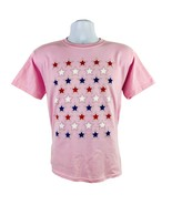 AMERICAN FLAG STARS USA YOUTH PINK T-SHIRT S M L XL PATRIOTIC OLYMPICS F... - $9.49