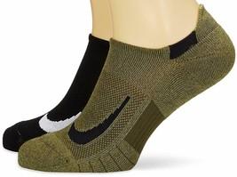 NIKE SX7554 934 Multiplier Ankle Socks set of 2 Black/Army ( S )  - $39.97