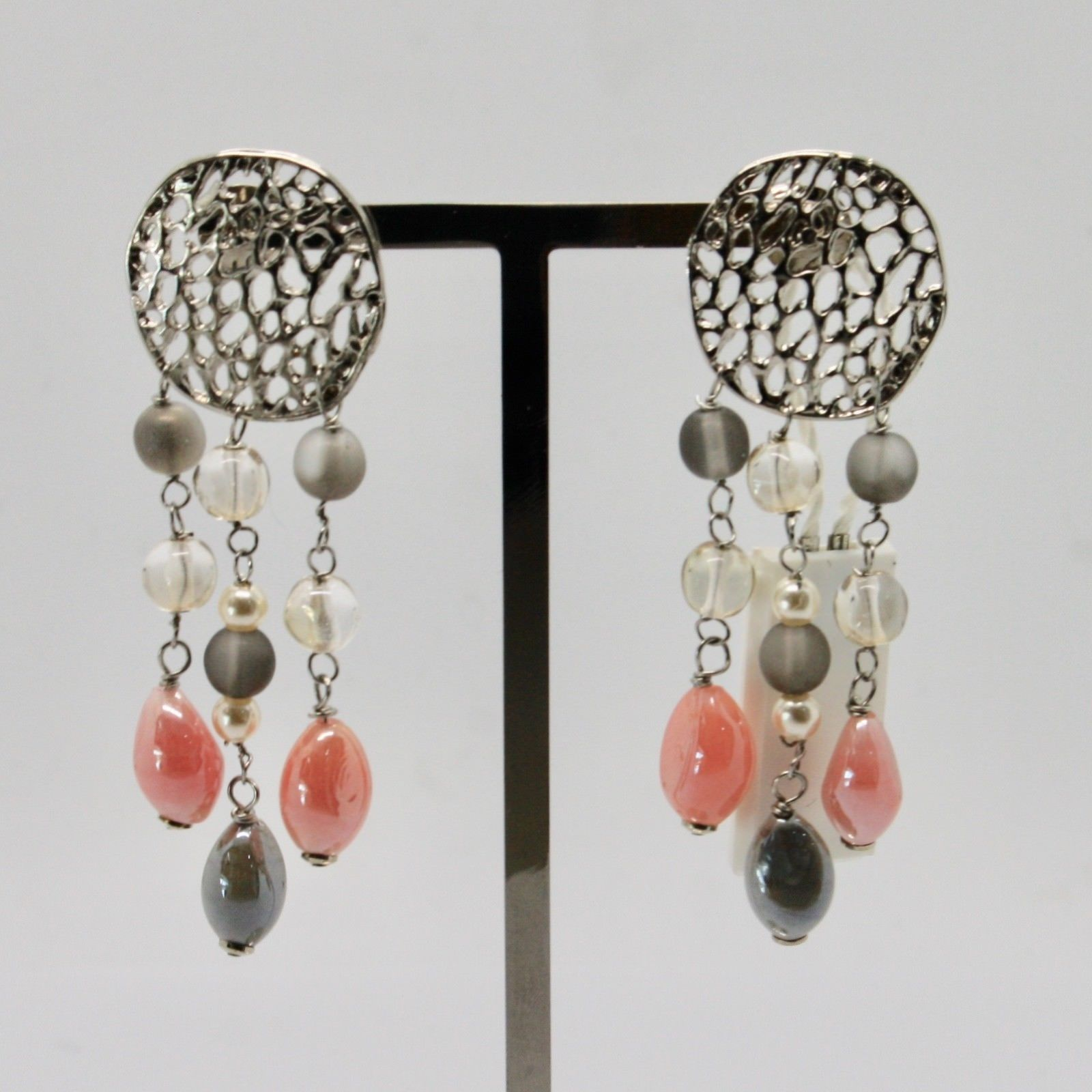 EARRINGS ANTICA MURRINA VENEZIA WITH MURANO GLASS PINK GRAY BEIGE OR571A03