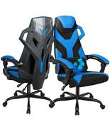 Large Size Adjustable Backrest Massage Gaming Chair-Blue - $155.99