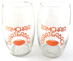 Armchair Quarterback Football Shaped Tumbler Glass Textured Red Clear Lo... - $16.45