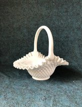 Fenton white milk glass hobnail basket w handle vintage