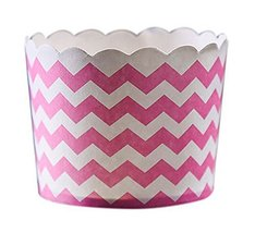 50 Medium Lovely Creative Cake Cups, White And Pink Wavy Lines - $20.34
