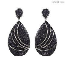 Vintage 15.2Ct Diamond Studded 925 Sterling Silver Dangle Drop Earrings ... - $2,027.58