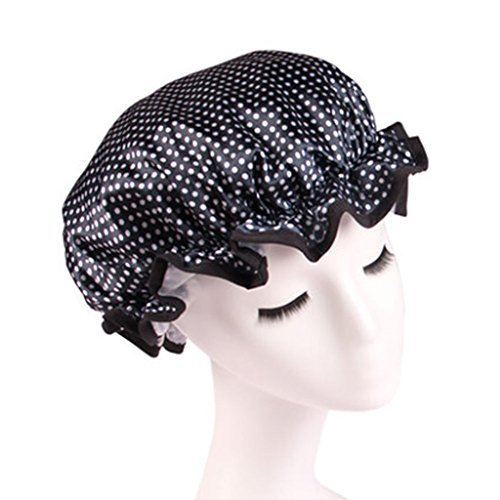 Stylish Design Waterproof Double Layer Shower Cap Spa Bathing Caps, Dark Blue