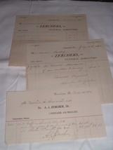 3 Antique Documents Letterheads Zerchers Funeral Directors Embalmer Cone... - $21.00
