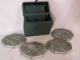 4 Green Marble Octagon Drink Coasters in a Green Fabric Covered Box - $14.67