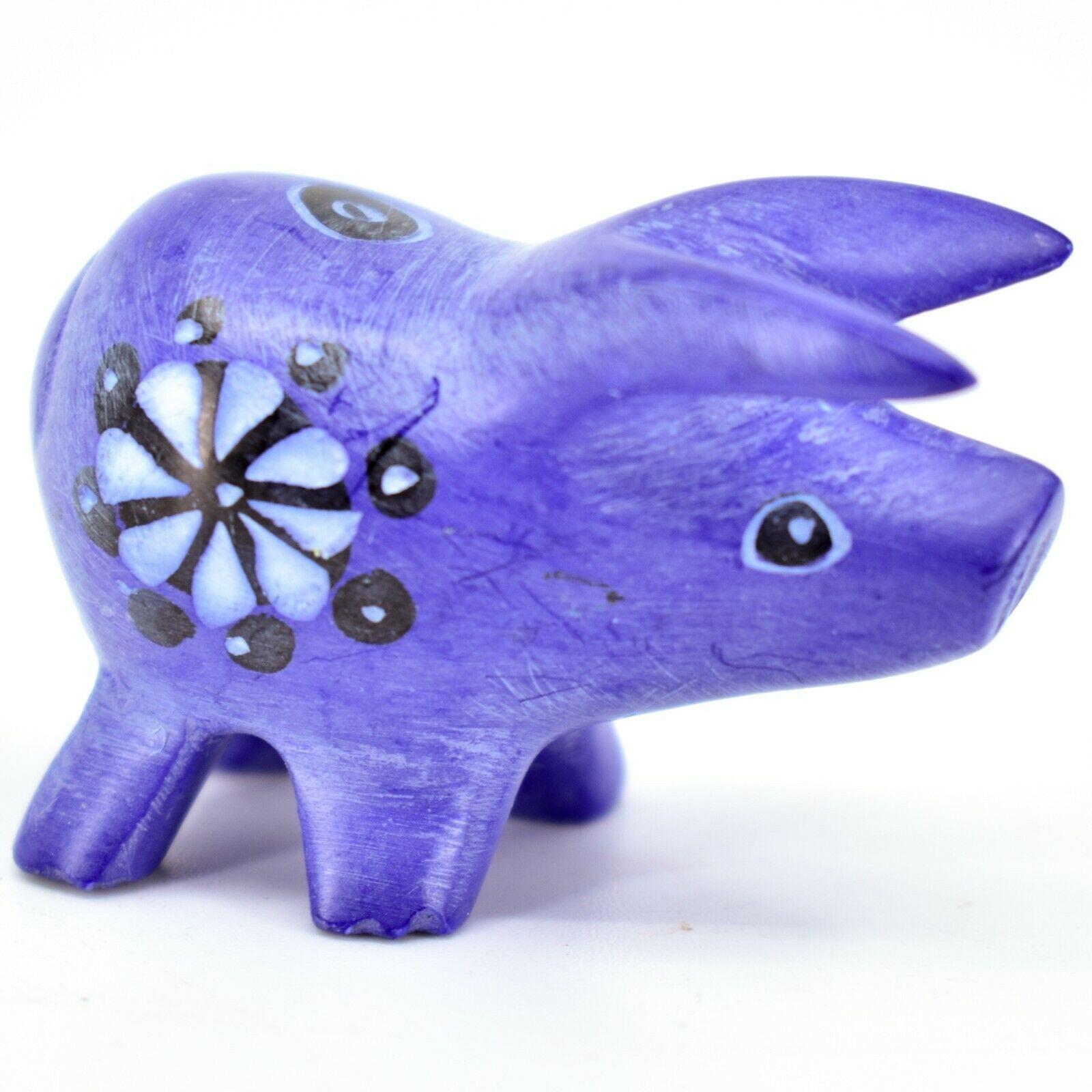 Tabaka Chigware Hand Carved Kisii Soapstone Blue Pig Miniature Mini Figurine