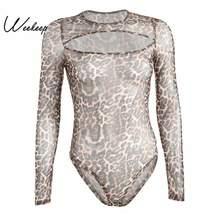 Weekeep Women Sexy Perspective Long Sleeve Bodysuit Leopard Hollow Out B... - $22.77
