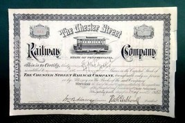 1932 antique CHESTER STREET RAILWAY CO. STOCK CERT. pa trolley prr MORRIS - $67.95
