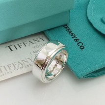 Size 9 Tiffany & Co Sterling Silver Men's Unisex Metropolis Ring With Re... - $325.00