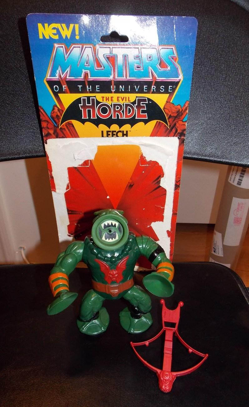 Vintage 1984 Masters Of The Universe MOTU Leech Figure With Weapon & Cardback