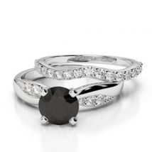 14K White Gold Over 2Ct Black Simulated Diamond Wedding Halo Bridal Ring Set  - $99.99