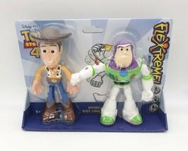 Disney Pixar Toy Story 4 Flextreme Bendable Woody & Buzz Lightyear Figur... - $19.79