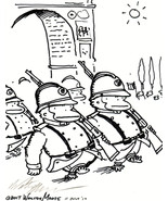 Apes March on Bastille Day. Original Signed Cartoon by Walter Moore - $9.54