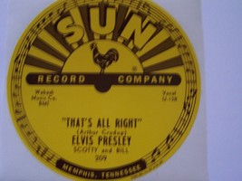 ELVIS PRESLEY 5 SUN 78 RPM RECORD LABELS THATS ALL RIGHT #209 MAKE YOUR ... - £25.89 GBP