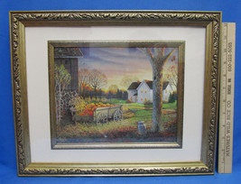 Country Farm Framed Print Farm House Barn Wooden Wagon Harvest Time - $15.83