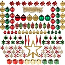 ITART 129ct Christmas Tree Ornaments Decorations Assortment Including Tr... - $43.40