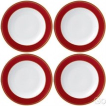 """Wedgwood Renaissance Red Rim 9"""" Soup Bowls Four Bowls (4) new with tag - £195.50 GBP"""