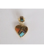 14kt Gold Inlay Heart Pendant, Reversible, Brow... - $645.00