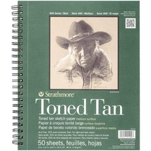 "Strathmore 412-9 400 Series Toned Tan Sketch Pad, 9""x12"" Wire Bound, 50 ... - $12.71"