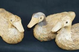 Vintage Set of 3 MALLARD DUCKS Duck Corn Husk Wood Dolls Rustic Cabin Decor - $28.54