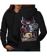 Meh Whatever Animal Cat Sweatshirt Hoody Grumpy Meme Women Hoodie Back - $21.99+