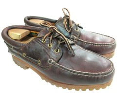 Vintage TIMBERLAND Brown Leather 3-Eye Vibram Boat Shoes Sz. 9.5 W - Mad... - $75.00