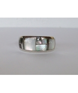 Sterling Silver Inlay Ring, White & Black Mother of Pearl, Size 9 1/2, New - $159.00