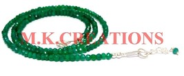 """925 Silver Natural Green Onyx 3-4mm Beads Beaded Chain 32"""" Fine Necklace... - $29.81"""