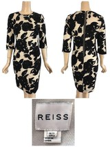 "Reiss Black & Gold Metallic Burned Out Floral ""Leila"" Sheath Dress US 8 - $175.00"