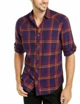 INC Men's Shirt Purple Size Medium M Button Down Marc Plaid Long-sleeve