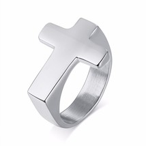 Men Cross Shaped Ring in Stainless Steel with Silverly Black Golden Male... - $20.10