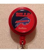 Nfl Buffalo Bills Badge Reel Id Holder Red Blue Alligator Clip Handmade New - $8.99
